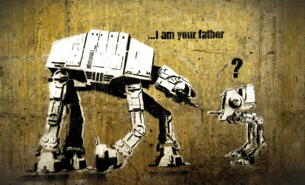 Star Wars AT-AT kneeling to a small AT-ST