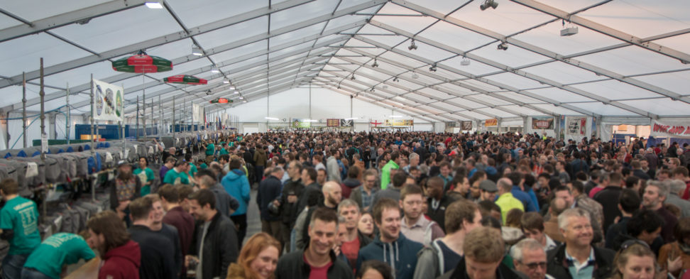 Snapshot of the crowd inside the tent at the Cambridge Beer Festival