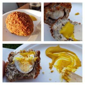 Three panel picture of a Scotch egg in different stages of being consumed.