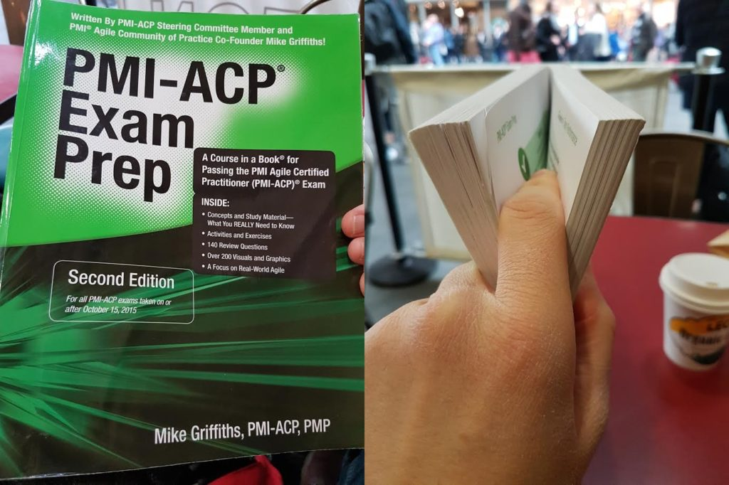 A photo of the recommended Agile exam study guide, PMI-ACP Exam Prep by Mike Griffiths.
