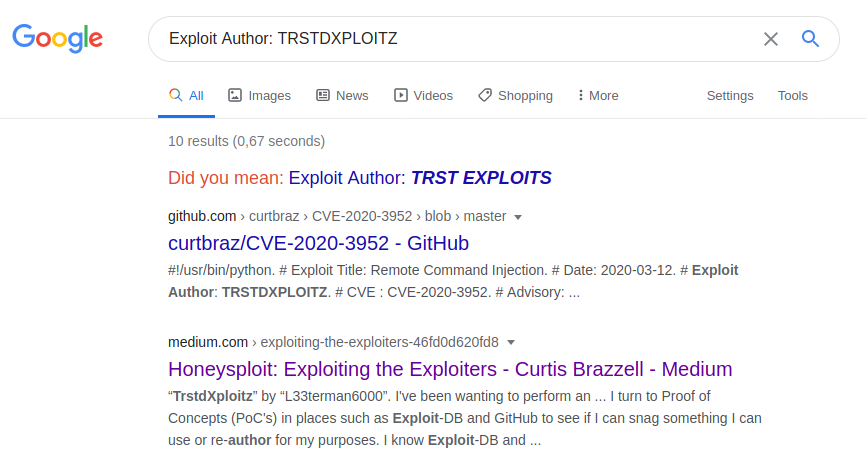 "Google search results for ""Exploit Author: TRSTDXPLOITZ"" with Curtis Brazzell's published article as the second result."
